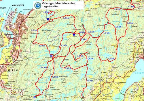 kart orkanger Orkanger Idrettsforening   Skikart over Ulvåsmarka