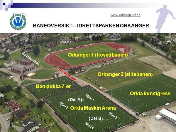 kart orkanger Orkanger Idrettsforening   Kart over baner